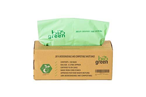 BioGreen 100% kompostierbare Müllbeutel, 150 Stück, extra dick, 6 l, 8 l, 10 l. Lebensmittelabfallbeutel, 100% biologisch abbaubar aus Maisstärke, EN 13432 OK Kompost Home Zertifiziert (6 L) -