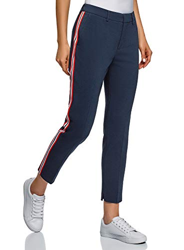 oodji Collection Damen Enge Hose mit Seitenstreifen, Blau, DE 42 / EU 44 / XL