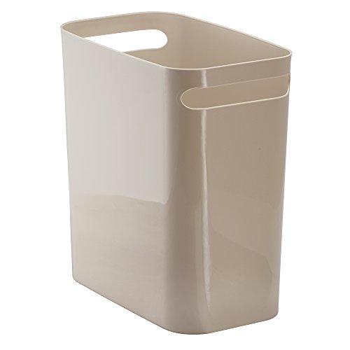 InterDesign Una Papierkorb mit Griffen, Abfalleimer aus Kunststoff für Büro, Küche oder Bad, taupe (Taupe Bad)