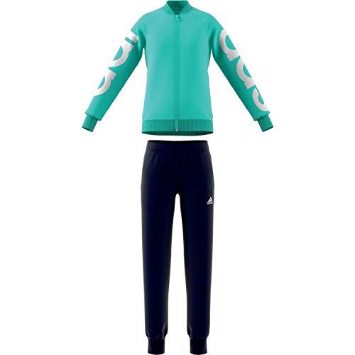 adidas Mädchen YG PES TS Trainingsanzug, grün (Clear Mint) / weiß, 116 (5/6 años)