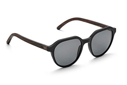 TAKTAKE A SHOT - Holz-Sonnenbrille, Holz-Bügel, Kunststoff-Rahmen, 100% UV-Schutz, rückentspiegelte Gläser - Ferguson