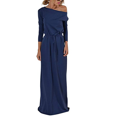 Lover-Beauty Kleider Damen Elegant Langarm Boho-Kleid Strandkleid Maxikleid Langarmkleid mit Gürtel