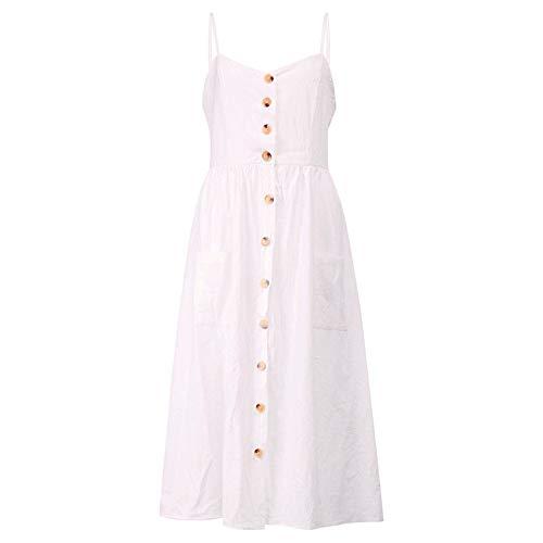 KKVK Button Striped Print Baumwolle Leinen Casual Sommerkleid 2019 Sexy Strap V-Ausschnitt Schulterfrei Frauen Midi Kleid weiß XL