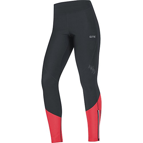 GORE Wear Winddichte, lange Damen Laufhose, R5 Women GORE WINDSTOPPER Tights, 38, Schwarz/Pink, 100355