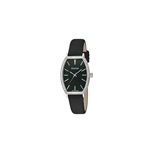 Seiko Pulsar Reloj Dama Reloj Oval con Brillantes con Cristales Swarovski Piel Negro