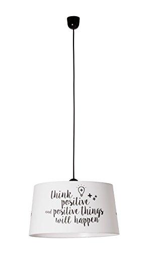 Sulion Positive Lámpara de Techo Colgante, E27, 40 watts, Blanco y Negro, 45 x 25 x 120 cm