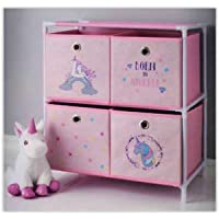 Girls Unicorn Toy Storage Unit Kids Bedroom Chest Drawers Toy Box Birthday Gift