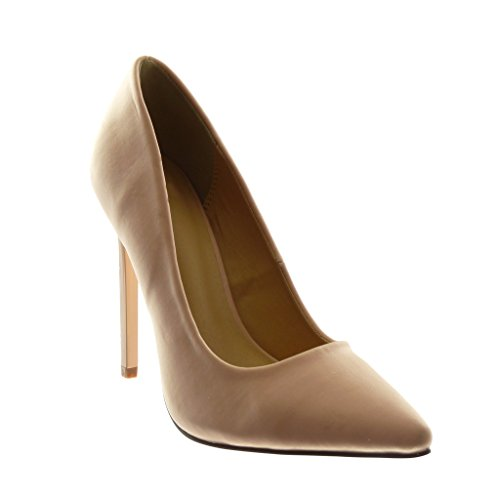 Angkorly Scarpe Moda Scarpe Decollete Stiletto Decollete Donna Tacco Stiletto Alto 12 cm Rosa chiaro
