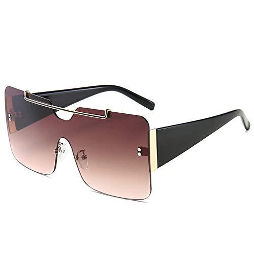 FIRM-CASE New Square übergroße Sonnenbrille Männer Frauen Metall-große Feld-Gläser Siamese Gradient Lens Brillen, 6