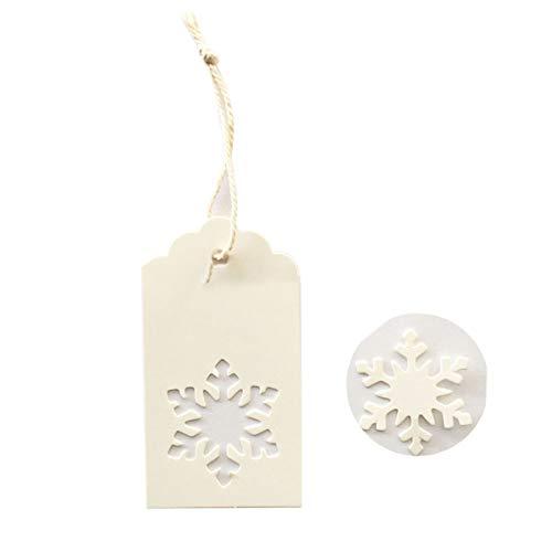 IHomiki 100Pcs Weihnachtsschneeflo Geschenkanhänger Kraft Papier Geschenkanhänger Hohle Weihnachten Schlagwörter Kreative Hang Etiketten für Winter-Thema-Partei (weiß)