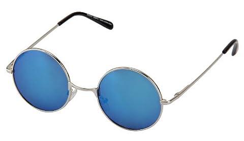 Sonnenbrille Nickelbrille mit runden Gläsern und Federscharnieren retro Art. 8058-8 silber / blau
