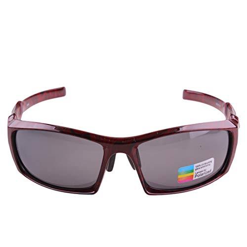 Easy Go Shopping PC Polarized Radfahren Sport Sonnenbrille Unisex Rot Winddicht Anti-UV Rutschfeste Männer Frauen Sonnenbrillen und Flacher Spiegel (Farbe : Grau)