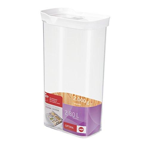 Emsa Optima Schüttdose mit Schiebedeckel, rechteckig, 2,80 L Vorratsbehälter, Plastik, transparent/weiß, 16 x 9,9 x 28,9 cm