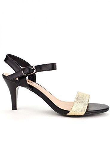 Cendriyon, Sandale BELLELI Bi colors Mode Chaussures Femme Noir