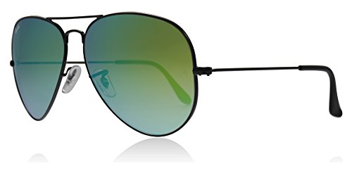 Ray-Ban RB3025 002/4J Schwarz glänzend RB3025 Aviator Sunglasses Lens Category 3 Lens Mirrored Size 55mm