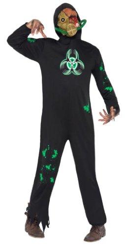 Untoter Halloweenkostüm Kostüm für Halloween Horror Anschlag Bio verseucht Gift vergiftet Fasching schwarz Schwarzes Zombiekostüm Bio Hazard Zombie für Herren Herrenkostüm Atom Unfall Gr. 48/50 (M), 52/54 (L), (Bio Kostüm Zombie)
