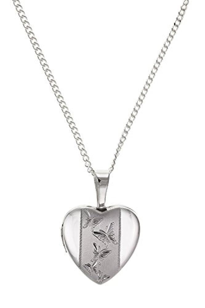 12mm breit Schmetterling Herz Medaillon Gravur auf 40,6cm Zoll Kette–925Sterling Silber–Lieferung erfolgt in Geschenkbox oder Geschenkbeutel