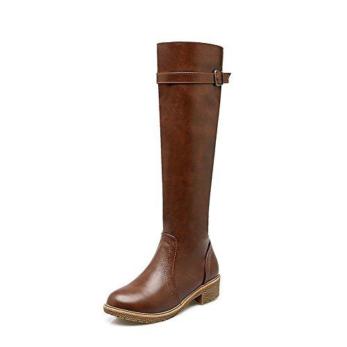 AgooLar Damen Niedriger Absatz Weiches Material Hoch-Spitze Rein Stiefel mit Rivet Set, Braun, 35