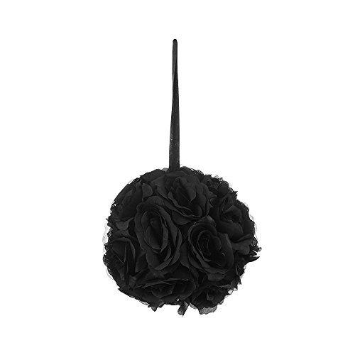 Mega Crafts schwarz Künstliche Rose Bisamapfel Kissing Ball 20,3cm | Band zum Aufhängen Stoff Blume Dekor |, Hochzeiten, Party Dekorationen, Hintergrund Wand, Event Planung, Geburtstage und Baby Duschen