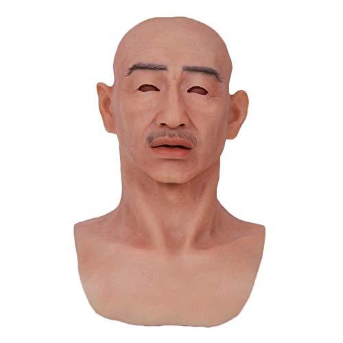 Realistische Maske des Alten Mannes des vollen Kopfes des Silikons für Maskerade Halloween-Kostümpartei-Latexkopf-Maskengesicht