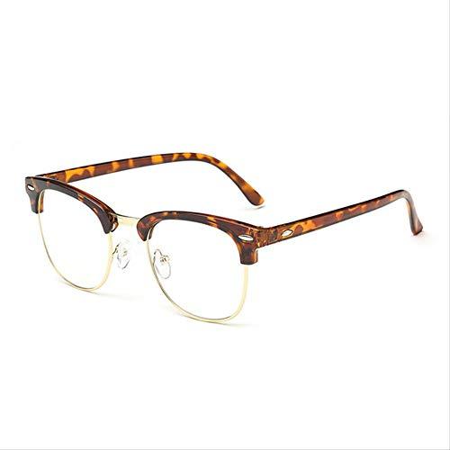 AQCSDF Anti-Blaue Brille Retro Half Frame Glasses Frame Wild Box Metal FLA