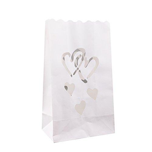 Pixnor 10pcs lumino candela borse ad incastro Design cuori per la decorazione della casa di festa di nozze