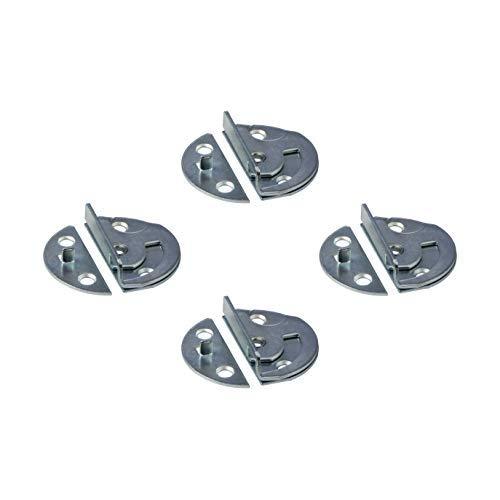 Gedotec Drehriegel-Verschluss Tischbeschlag für Zargentische   Möbelriegel Metall verzinkt   Dreh-Verriegelung zum Einbohren oder Anschrauben   4 Stück - Tischplatten-Beschlag Verbinder aus Stahl