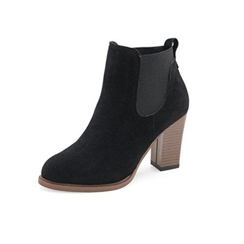 feiXIANG Stivali Donna Autunno inverno stivali quadrato alto tacco stivaletti abkle nodo scarpe invernali-camoscio+plastica (38, nero)