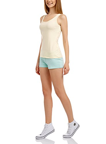 oodji Ultra Damen Jersey-Shorts Basic Grün (6500N)
