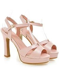 zhENfu Zapatos de mujer Tacones Chunky talón / peep toe / sandalias de plataforma / fiesta boda &Amp; Noche/ Rosa / Blanco / almendro,rubor rosa,US7.5 / UE38 / UK5.5 / CN38