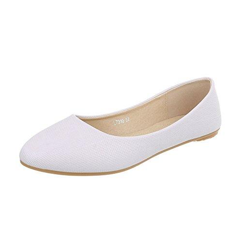 Ital-Design Klassische Ballerinas Damen-Schuhe Klassische Ballerinas Moderne Ballerinas Creme, Gr 38, L7310-