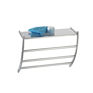 Axxentia Bathroom 282112 Hanka Wall Shelf Chrome witt 3 Bars and Shelf for Hand Towels 56 x 23 x 43 cm