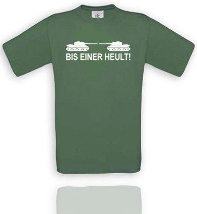 Comedy Shirts BIS Einer HEULT!. Herren T-Shirt T-Shirt Größe S - Olive/Weiss