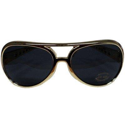 Sonnenbrille Brille gold schwarz Rock Elvis Vegas Rockstar Schlagerparty Disco (Rock Brille)