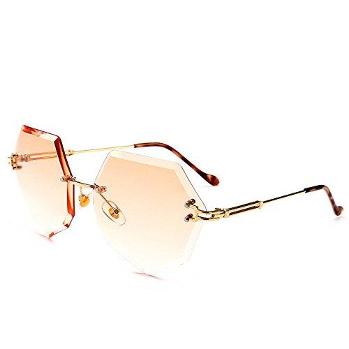xuexue Individualität Brille Mode Polygonal Achteckig Rahmenlos Farbverlauf Ozean Stück Farbig Sonnenbrille Männlich Brille Mode Gläser,E