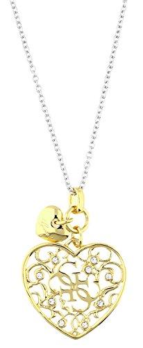 Guess Damen-Kette mit Anhänger teilvergoldet weiß 81 cm-UBN71522 (Guess Halskette Damen Gold)