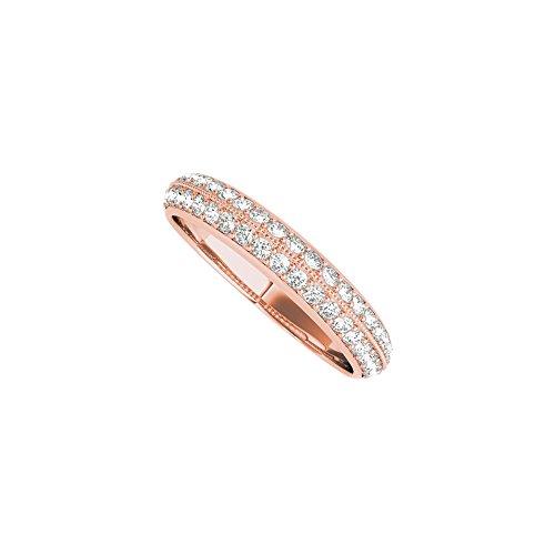 14K Rose Gold Pave Diamond Wedding Band For Ladies (Pave Diamond Wedding Ring)