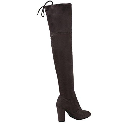 Damen Stiefel Overknees 70s Look Boots Veloursleder-Optik Schuhe Blockabsatz High Heels Profilsohle Langschaftstiefel Jennika Grau