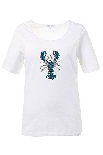 GINA_LAURA Damen | Shirt | Hummer aus Pailletten | Rundhals | Halbarm | Baumwolle | bis Größe XXL | 711074 Weiß