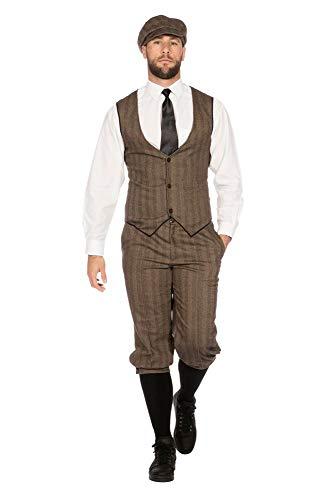 shoperama 20er Jahre Peaky Blinders Anzug Knickerbocker Herren-Kostüm Braun-Beige Weste Schiebermütze The Roaring Twenties 20's, Größe:48 (Roaring 20's Kostüm)