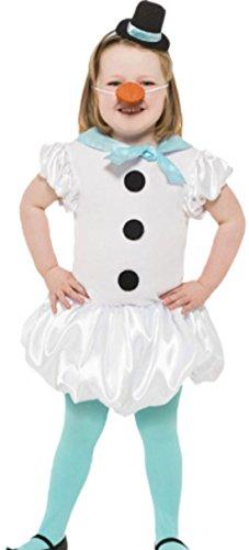 Snowgirl Kostüm - erdbeerloft - Mädchen Schneefrau Snowgirl Kleid Karneval Faschingskostüm, 128, Weiß