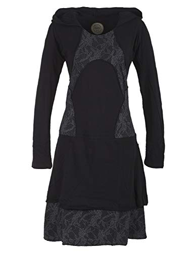 Vishes - Alternative Bekleidung - Damen Langarm Lagenlookkleid aus Baumwolle mit Zipfelkapuze schwarz 46