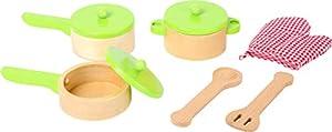 Small Foot 10733 - Juego de Cocina (Madera) One Pot, Two Pans, Utensilios de Cocina y Guante de Maceta, complemento Ideal para la Cocina de los niños