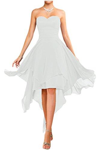 Victory Bridal Modisch Traegerlos Abendkleider Kurz Chiffon Sommerkleider Tanzkleider Brautjungfernkleider-58 - Trägerlos Weiß Sommerkleid