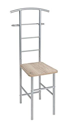 Haku-Möbel Herrendienerstuhl, Metall, alu-Eiche san remo, 46 x 46 x 109 cm