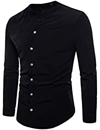 BUSIM-Men Long Sleeve Shirt Autumn Casual Fashion Slim Cotton V-Neck Long Sleeve Shirt Top