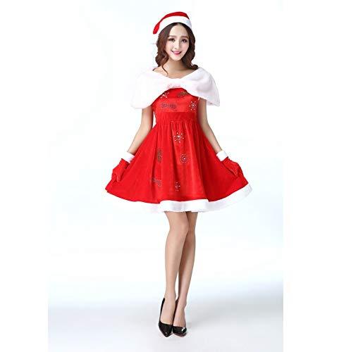 Yunfeng weihnachtsmann kostüm Damen Sexy Adult Strass Schal Kleid Weihnachten Schneeflocke-Erwachsenen fünfzackigen Hülse Gold samt Set Kostüm Erwachsene Weihnachtsfeier Cosplay Kostüm (Kleider Gold Weihnachten)