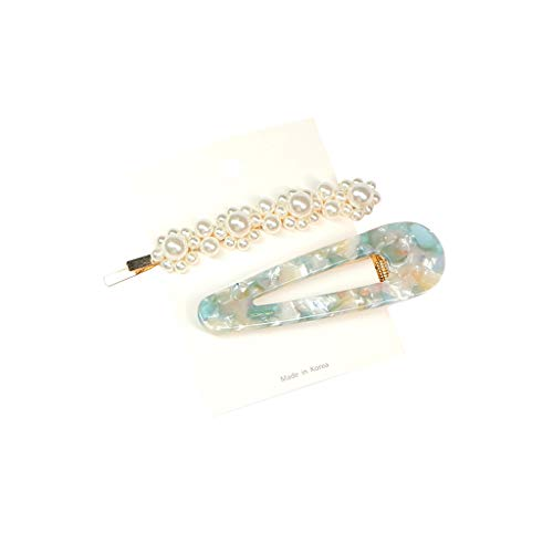 Gjyia 2 Teile/Satz Frauen Hohl Geometrische Entenschnabel Haarspange Transparent Acetat Tinfoil Pailletten Hairgrip Imitation Perle Perlen Haarspangen Sequin Bow Headband