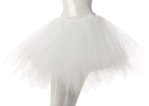 Phoenix® Ballett Blase Rock Frauen kurze Partei Tutu Vintage Petticoat kleid 50er Hochzeit hoopless Rock n Roll kurz Weiß
