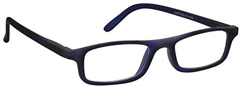 L'azienda Occhiali Da Lettura Opaco Gommato Blu Navy Leggero Comodo Donna Uomo Astuccio Compreso UVR017BL Diottria +1,00